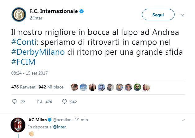 Milan, per Conti sospetta rottura del crociato: stop di almeno 4 mesi